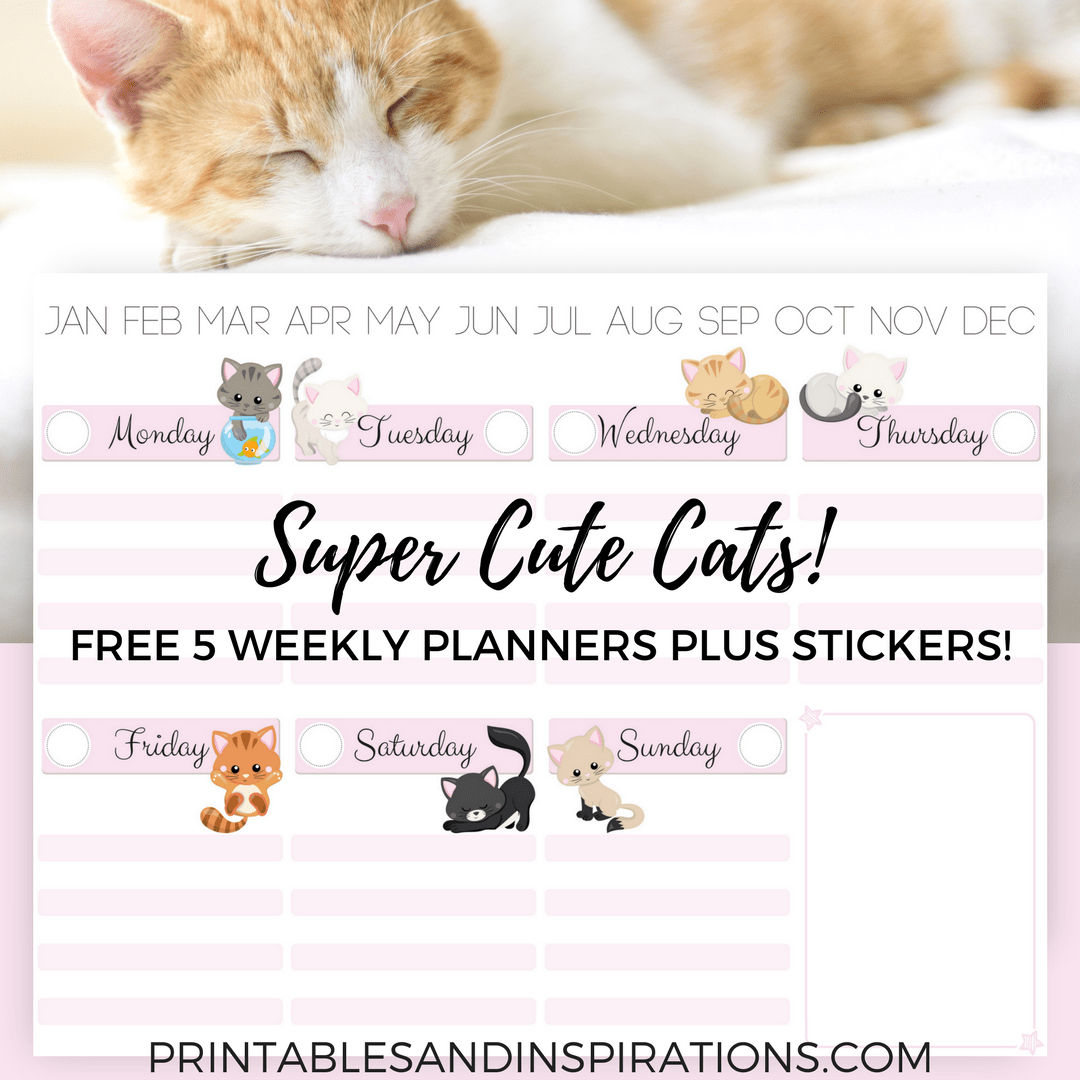 photo relating to Cute Weekly Planners identify Absolutely free Printable Lovely Cats Weekly Planner And Cats Planner