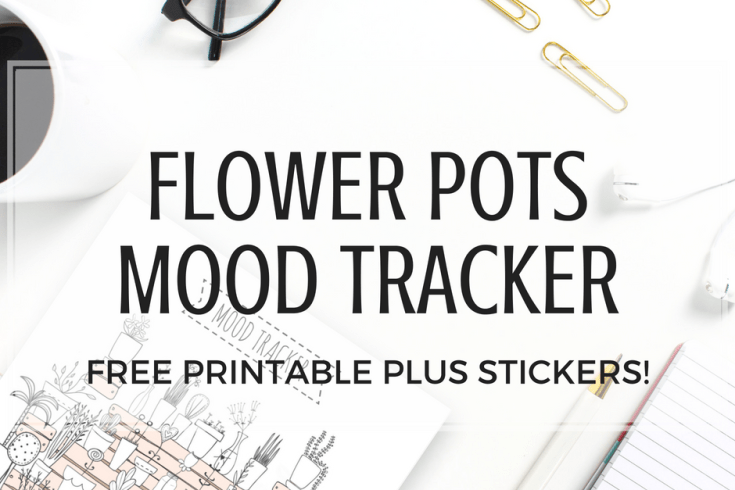 Free Printable Mood Tracker For Bullet Journal! Plus free daily planner stickers with days of the month. Cute flower pots design. Free download now! #bulletjournal #bujoideas #printablestickers #freeprintable #plannerstickers #bujotracker #moodtracker #printablesandinspirations