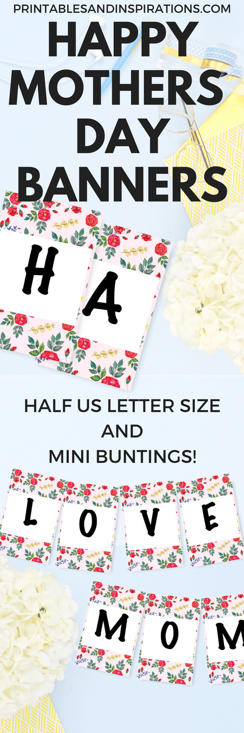 Diy Mothers Day gift ideas, Mother's Day printables, happy Mother's Day banners, Mother's Day buntings
