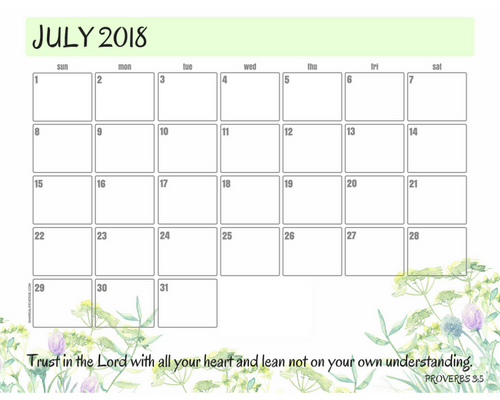 Get your free printable July 2018 monthly calendar here! Choose your favorite July calendar and plan a great month. #freeprintable #printableplanner bible verse calendar scripture