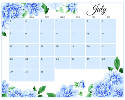 Get your free printable July 2018 monthly calendar here! Choose your favorite July calendar and plan a great month. #freeprintable #printableplanner floral blue calendar