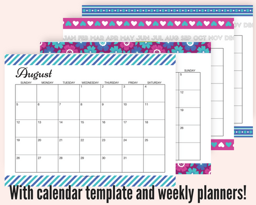 Free August 2018 monthly calendar, plus free printable weekly or daily planners, and blank calendar templates! #freeprintable #printableplanner
