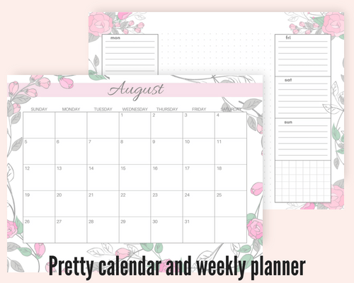 image about Cute Weekly Planner Printable named Cost-free August 2018 Every month Calendar And Blank Templates