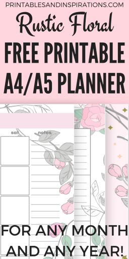 Free A5 or A4 planner printable - Get your free printable planner in pretty pink floral design and use any month! #freeprintable #printableplanner #bulletjournal