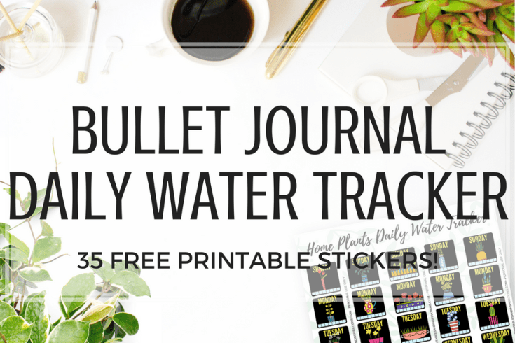 Home plants free printable water tracker planner stickers for your bullet journal! Get this free download and add to your list of habit trackers. #bulletjournal #watertracker #freeprintable