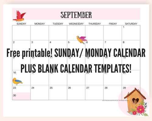 Free September 2018 calendar! Get this monthly calendar planner printable and have a great year. Cute calendar and floral calendar, calendar for kids. Plus blank calendar template. #freeprintable