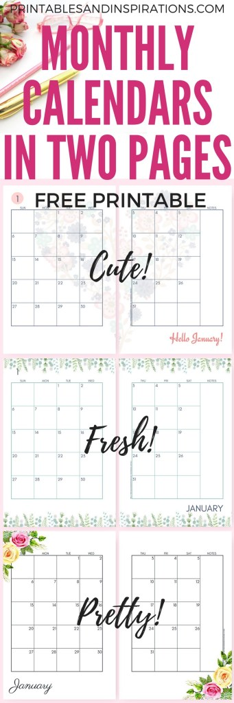 2019 Monthly Calendar Two Page Spread - Free Printable! Two pages per month 2019 planner. Choose from cute, fresh, pretty and simple designs! #freeprintable