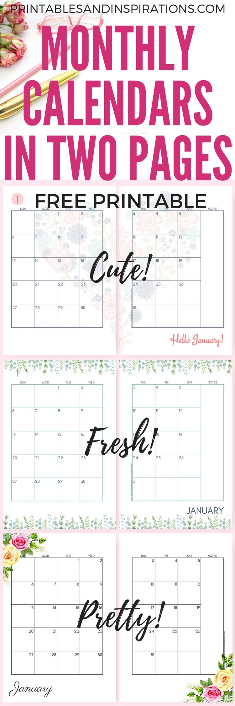 2019 monthly calendar two page spread free printable printables