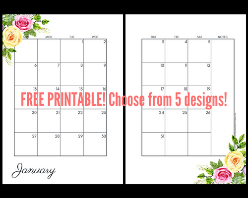Roses floral 2019 Monthly Calendar Two Page Spread - Free Printable! Two pages per month 2019 planner. Choose from cute, fresh, pretty and simple designs! #freeprintable