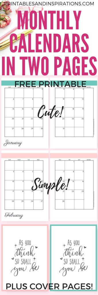Simple 2019 Monthly Calendar Two Page Spread - Free Printable! Two pages per month 2019 planner. Choose from cute, fresh, pretty and simple designs! #freeprintable
