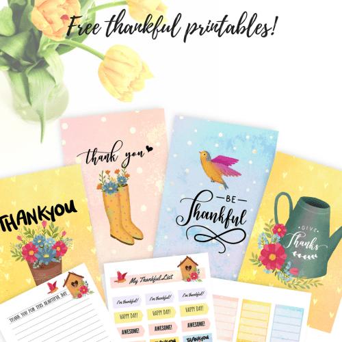 Printable DIY thank you cards and thankful planner stickers; printable stickers with thank you quotes and printable greeting cards. #diy #thankful #grateful #freeprintable