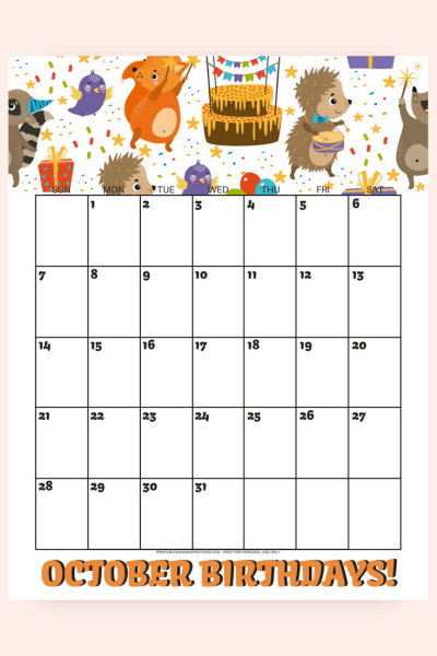 FREE BIRTHDAY CALENDAR 2018! Printable October monthly planners for an awesome month. 8 cute and floral calendar, with a Halloween calendar. Get your free download now! #freeprintable