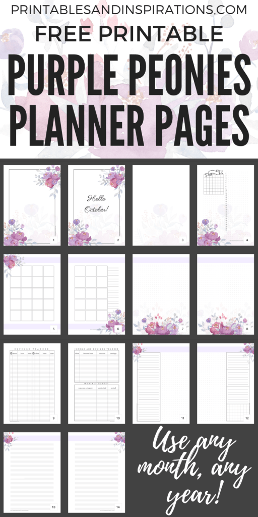 FREE Printable Purple Planner and October bullet journal - weekly, monthly and more pretty planner templates for your binder or bullet journal! Get your free download and use any month of the year. #printableplanner #freeprintable