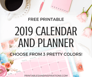 Free Printable 2019 Horizontal Calendar And Weekly Planner! A4 and A5 size monthly calendar in 3 floral designs. Get your free download now! #2019calendar #freeprintable #printableplanner #printablesandinspirations
