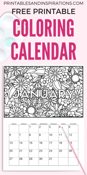 Free Calendar Coloring Pages For 2019! Get this free printable monthly planner and color your own calendar. Download now and enjoy! #freeprintable #printableplanner #printablesandinspirations