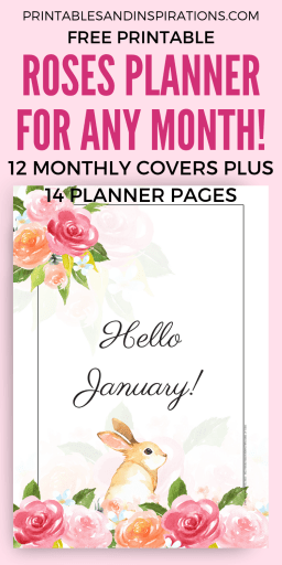 Free Printable Roses Planner Pages! With 12 bullet journal monthly covers and 14 bujo pages. Free download now! #bulletjournal #bujoideas #freeprintable #printableplanner #printablesandinspirations