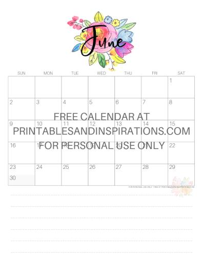 June 2019 Calendar Free Printable Monthly Planner PDF