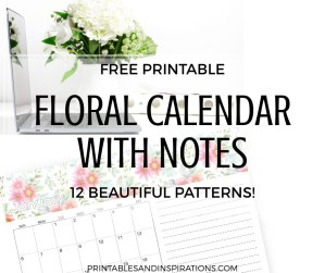 Free 2019 Printable Calendar With Notes! Your 2019 monthly planner with space for notes, goals and tasks. Free download now! #2019calendar #freeprintable #printablesandinspirations