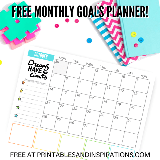 Free 2019 Monthly Goals Calendar Printable Planner! Get this free printable 2019 calendar with space for monthly goals and tasks, plus motivational quotes. Free download now! #freeprintable #printableplanner #printablesandinspirations #goalsetting #motivationalquotes