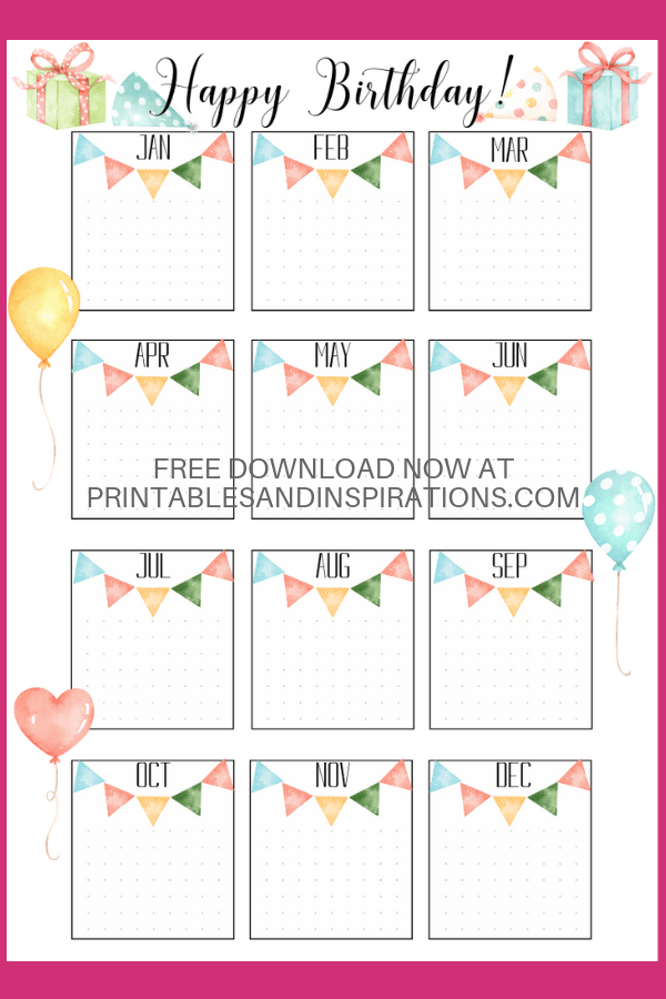 Bullet Journal Birthday Printable! Free printable birthday collections page for your bujo or memo board. #freeprintable #bulletjournal #bujoideas #printablesandinspirations