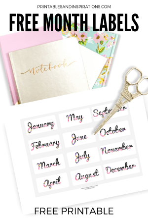 Free Planner Stickers! Free printable stickers for bullet journal monthly labels. Free download now! #freeprintable #plannerstickers #printablesandinspirations #bulletjournal #bujoideas