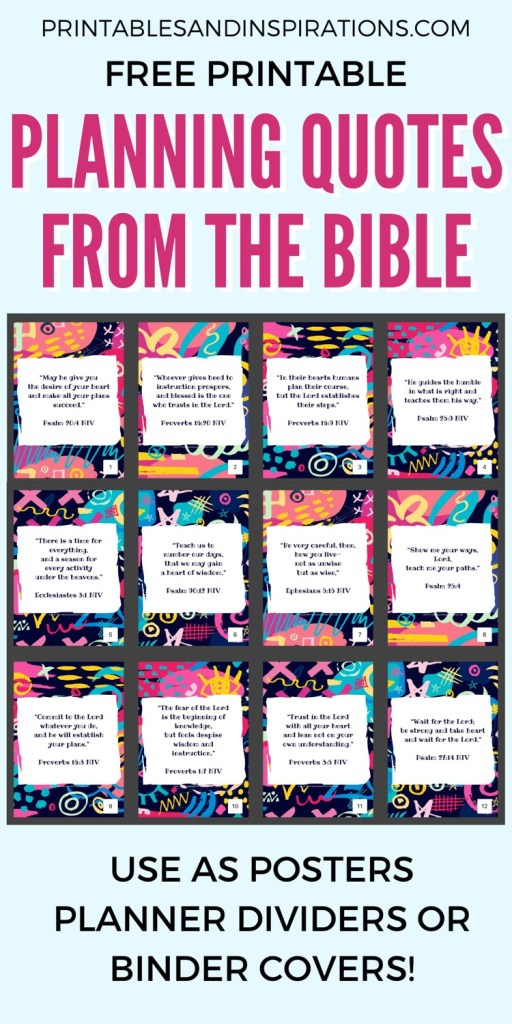 Bible Verses About Planning Free Printable Posters And Binder Dividers! Use these 12 Bible quotes for inspiration every month, as a wall art decor, planner divider for your Bible journal. Free download now! #freeprintable #Bibleverses #Biblejournaling #printablesandinspirations