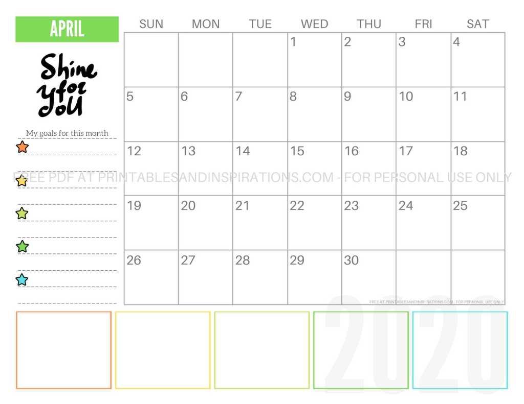 Free Printable April 2020 Calendar PDF #freeprintable #printablesandinspirations #motivationalquotes #stars #reachforthestars