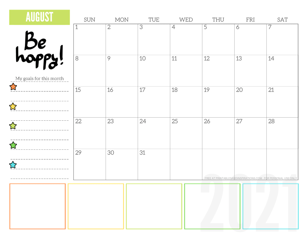 August 2021 goals calendar planner - free printable monthly calendar #printablesandinspirations #freeprintable #goalsetting SEE PREVIOUS POST TO DOWNLOAD THE FREE PDF FILE