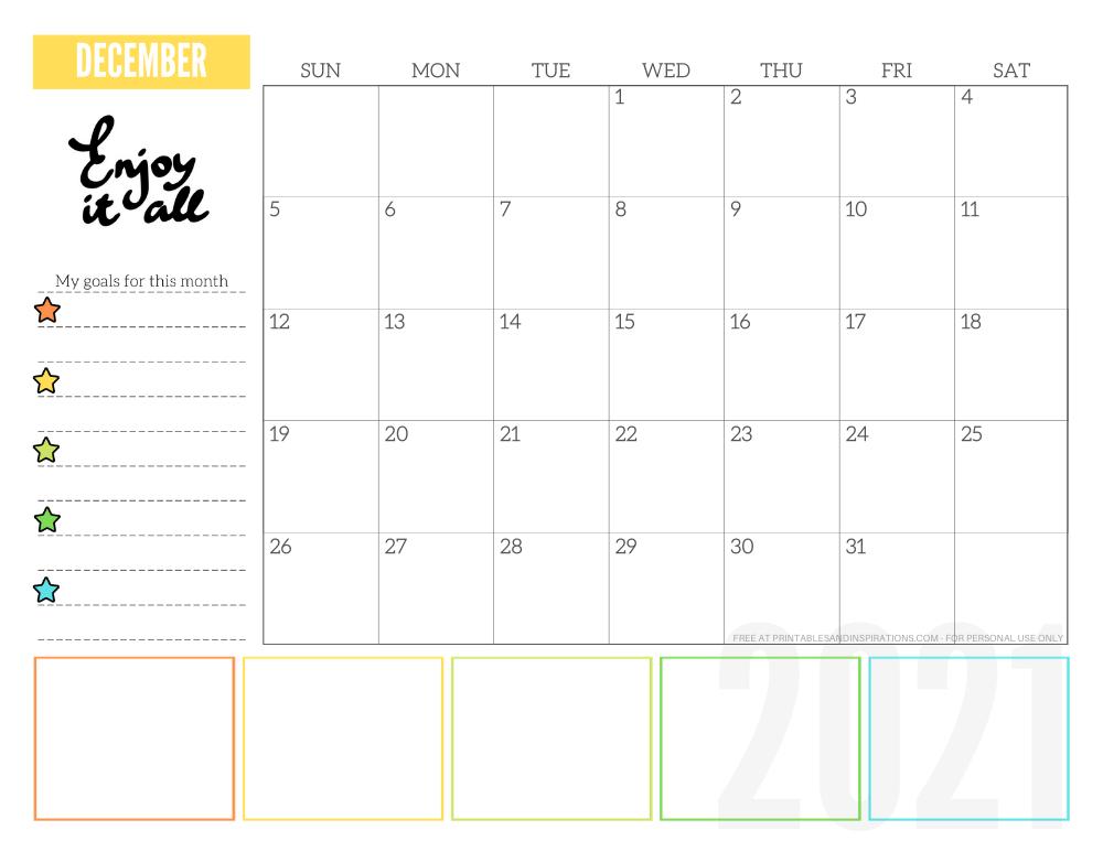 December 2021 goals calendar planner - free printable monthly calendar #printablesandinspirations #freeprintable #goalsetting SEE PREVIOUS POST TO DOWNLOAD THE FREE PDF FILE