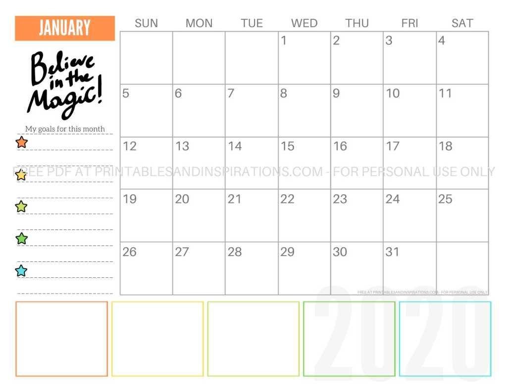 Free Printable January 2020 Calendar PDF #freeprintable #printablesandinspirations #motivationalquotes #stars #reachforthestars