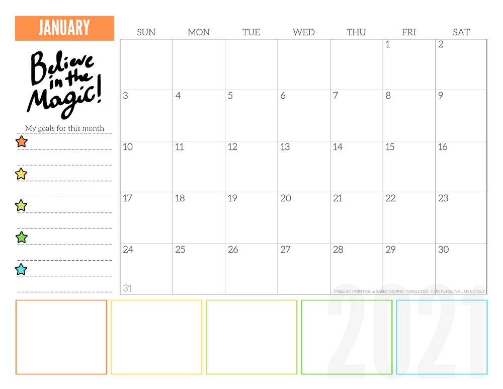 January 2021 goals calendar planner - free printable monthly calendar #printablesandinspirations #freeprintable #goalsetting SEE PREVIOUS POST TO DOWNLOAD THE FREE PDF FILE