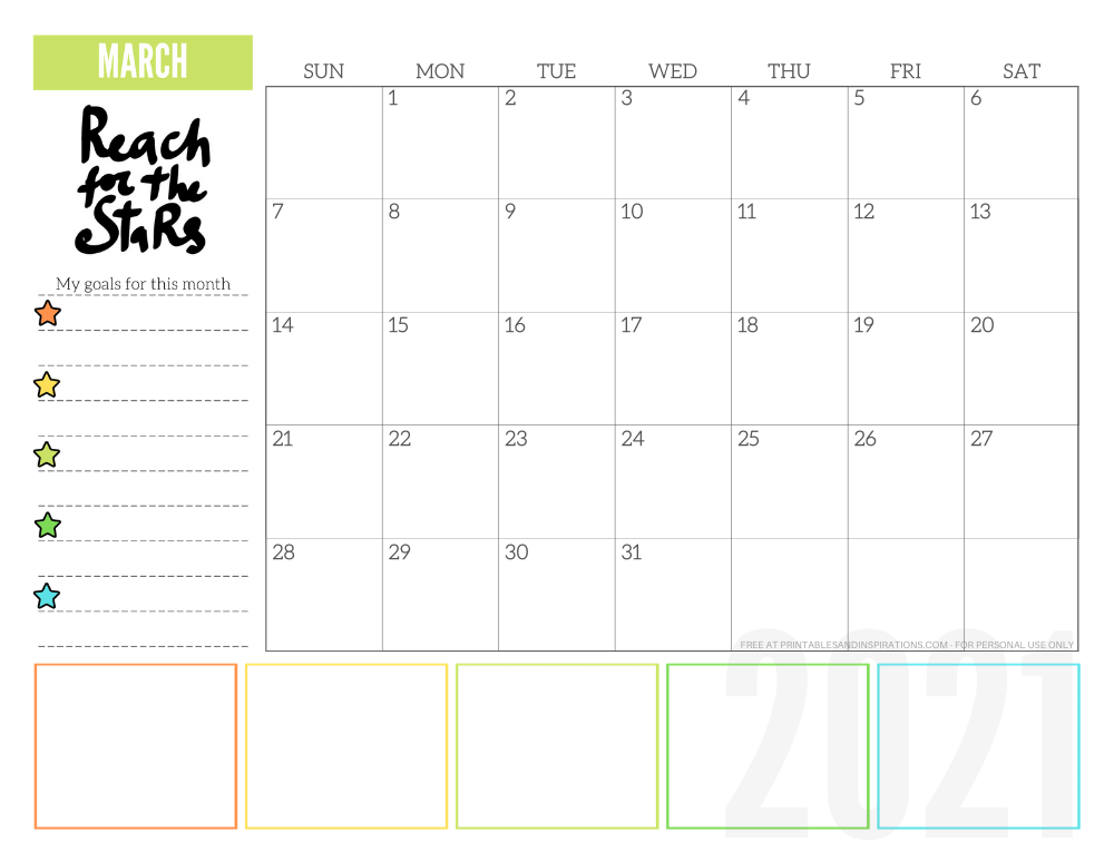 March 2021 goals calendar planner - free printable monthly calendar #printablesandinspirations #freeprintable #goalsetting SEE PREVIOUS POST TO DOWNLOAD THE FREE PDF FILE