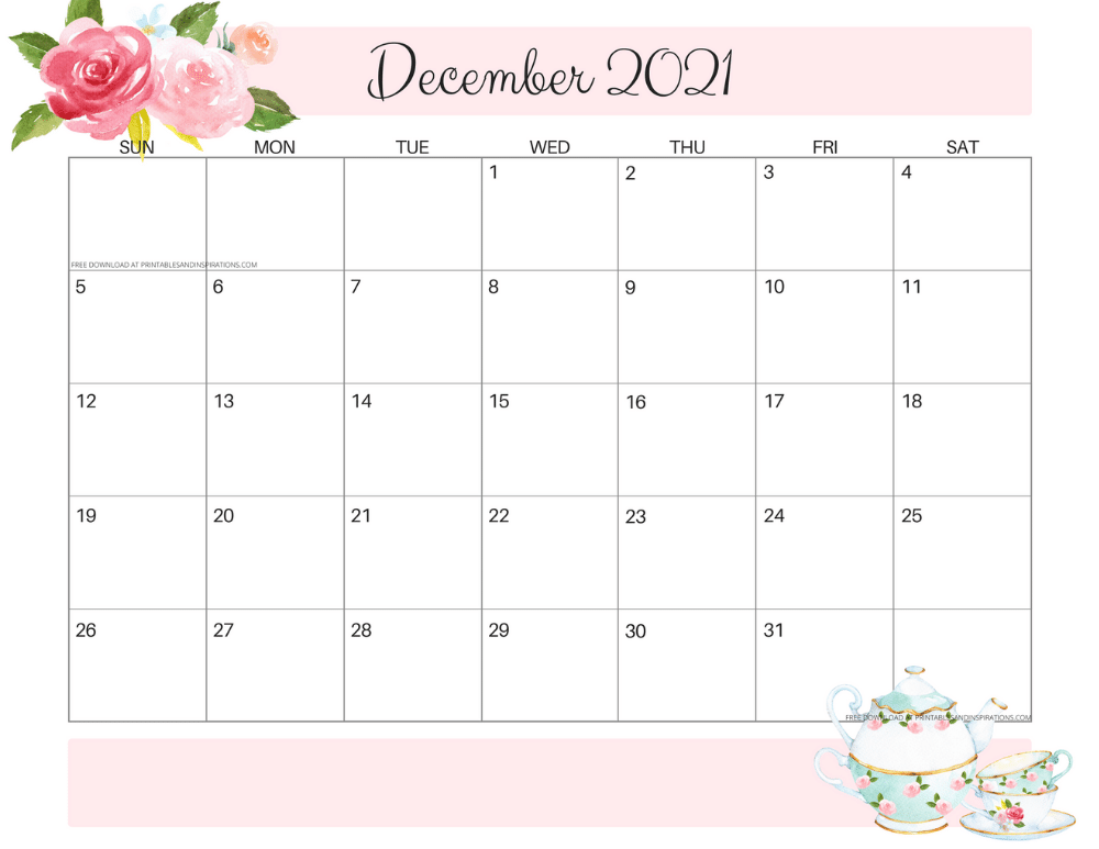 December 2021 calendar floral -free printable PDF #printablesandinspirations