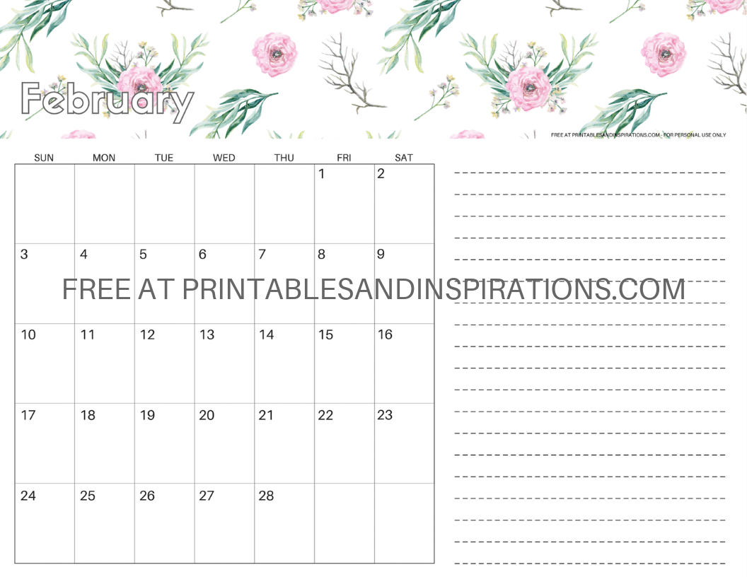 picture regarding Pretty Calendars called February 2019 Calendars + Valentine Printables! - Printables