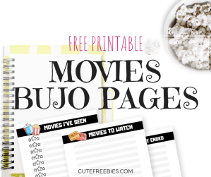 Movies bullet journal printable