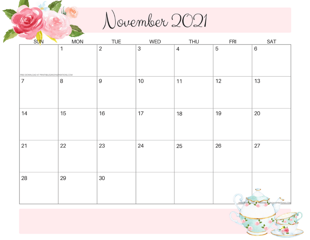 November 2021 calendar floral -free printable PDF #printablesandinspirations