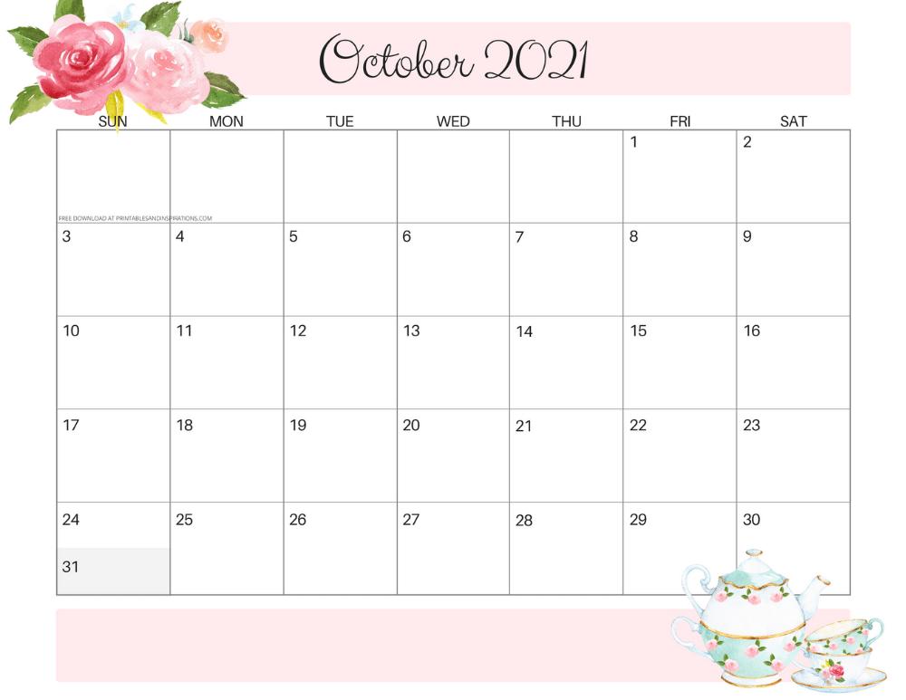 October 2021 calendar floral -free printable PDF #printablesandinspirations
