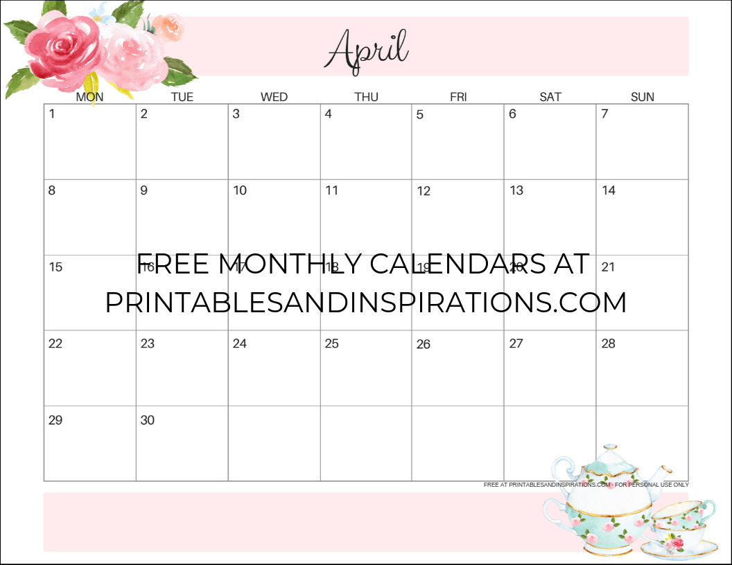 image relating to April Printable named Your Free of charge Printable April 2019 Calendar! - Printables and