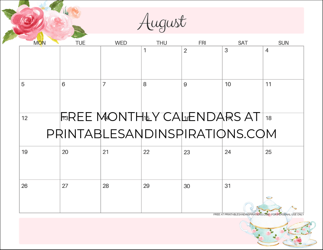 picture regarding Printable Monthly Calendar August identified as August 2019 Calendar PDF - Absolutely free Printable! - Printables and