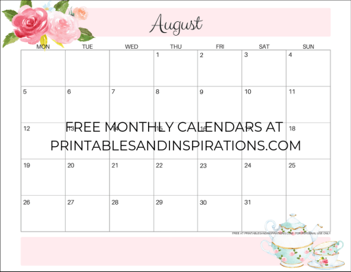 August 2019 calendar printable monthly planner, free printable floral calendar #freeprintable #printablesandinspirations