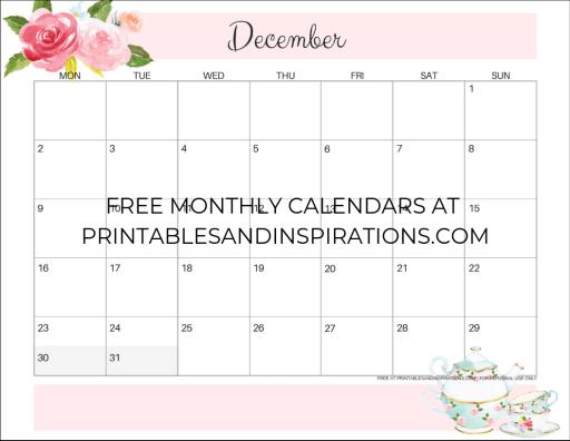 December 2019 calendar printable monthly planner, free printable floral calendar #freeprintable #printablesandinspirations