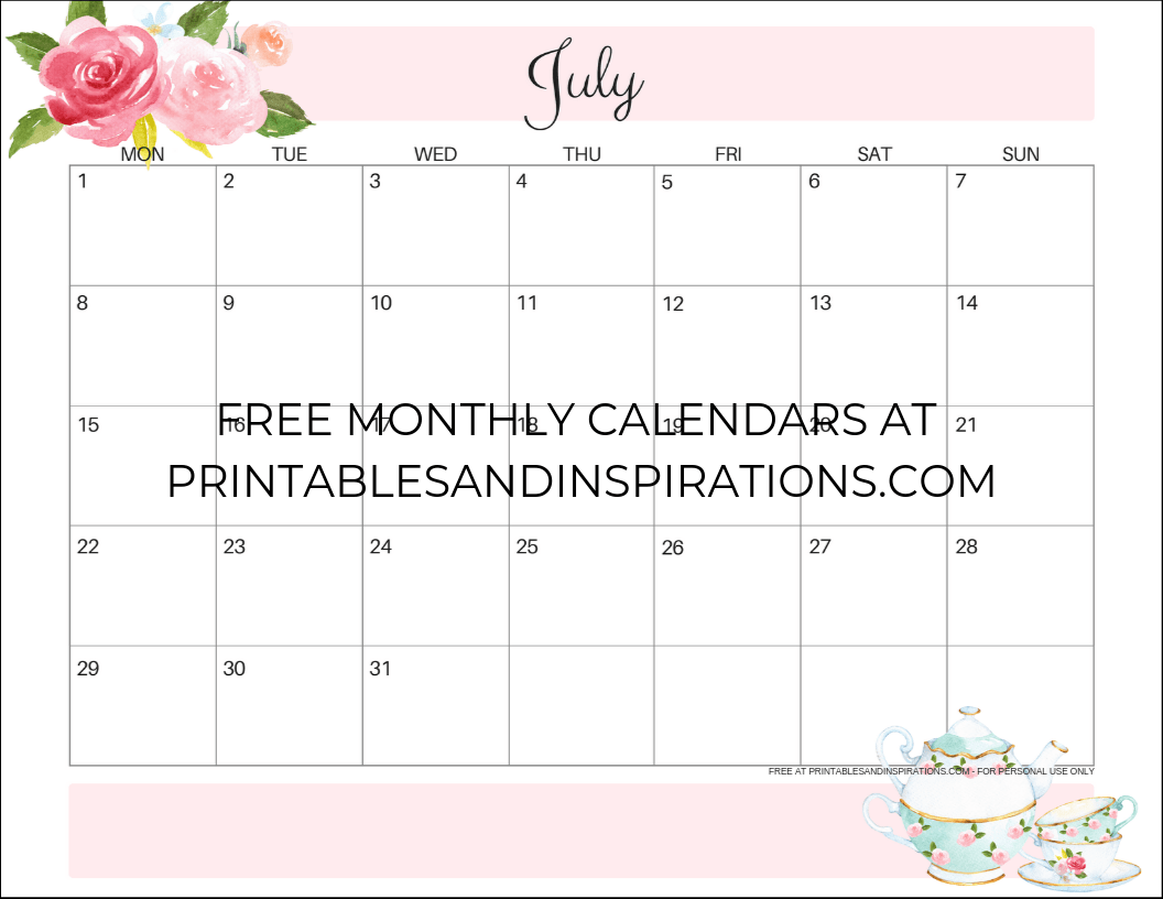 graphic about Printable Monthly Calendars Free titled July 2019 Calendar - Cost-free Printable! - Printables and