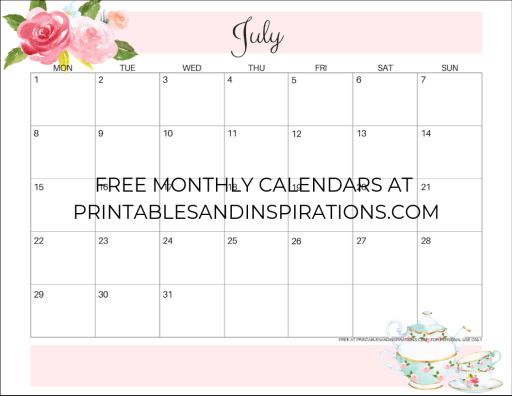 July 2019 calendar printable monthly planner, free printable floral calendar #freeprintable #printablesandinspirations