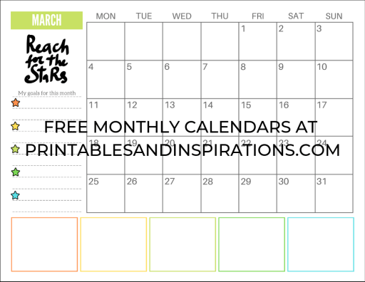 March 2019 calendar printable monthly planner, free printable goals calendar #freeprintable #printablesandinspirations