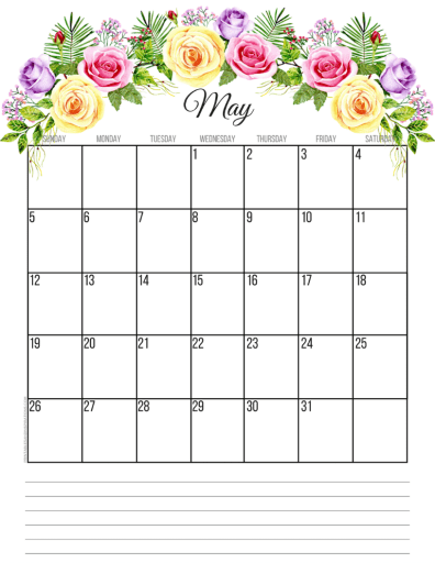 May 2019 calendar printable monthly planner, free printable floral calendar #freeprintable #printablesandinspirations