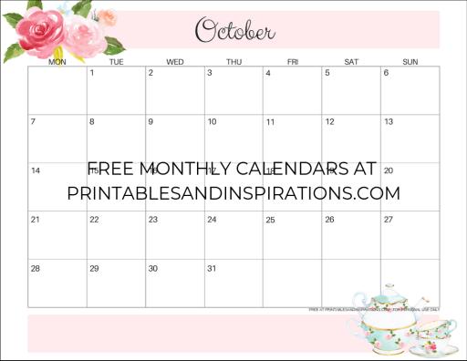 October 2019 calendar printable monthly planner, free printable floral calendar #freeprintable #printablesandinspirations