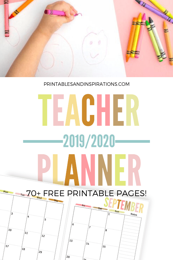 graphic relating to Free Printable Teacher Planner Pdf identified as Totally free Instructor Planner Printable 2019 - 2020 - Printables and