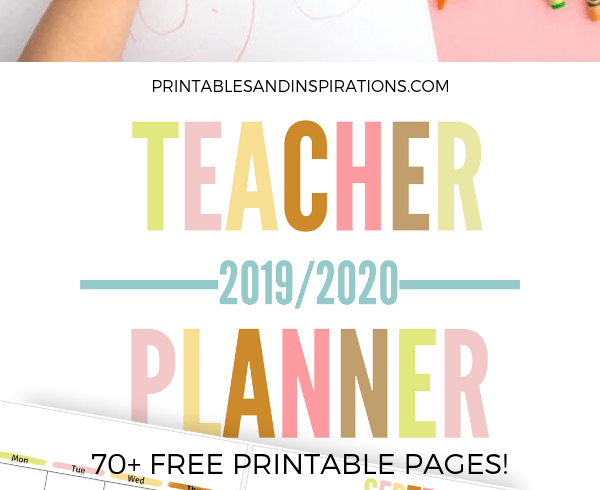 Free Teacher Planner Printable! Lesson planner with 2019-2020 calendars, teacher binder divider and cover, teacher quotes, and more teacher planner pages. Free download now! #teacherlife #freeprintable #printableplanner #printablesandinspirations #teacherquotes