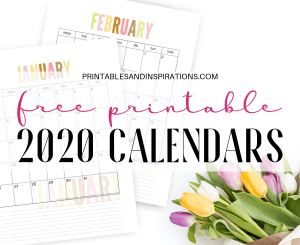 Free 2020 Calendar Printable Monthly Planner PDF Download. Get your free printable 2020 calendar now! #freeprintable #printablesandinspirations #2020calendar