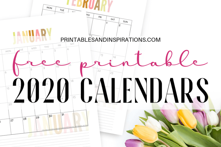 2020 Calendar Archives - Printables and Inspirations